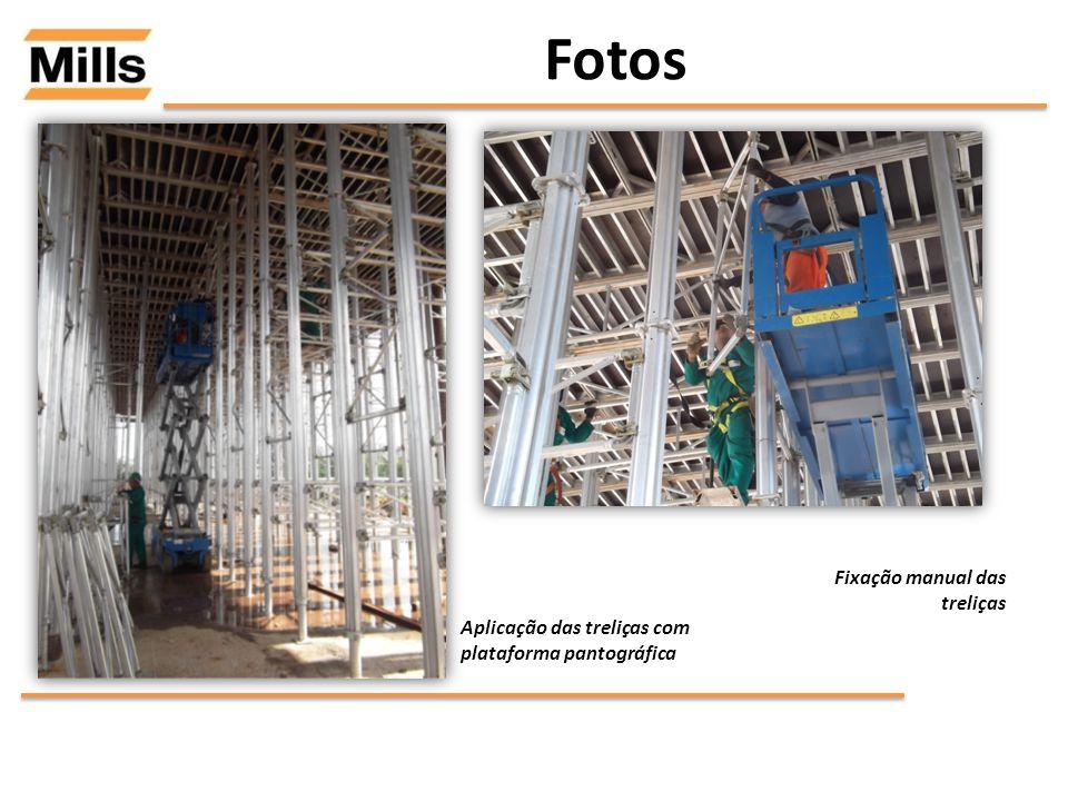 Fotos Aplicação das treliças com plataforma pantográfica Fixação manual das treliças