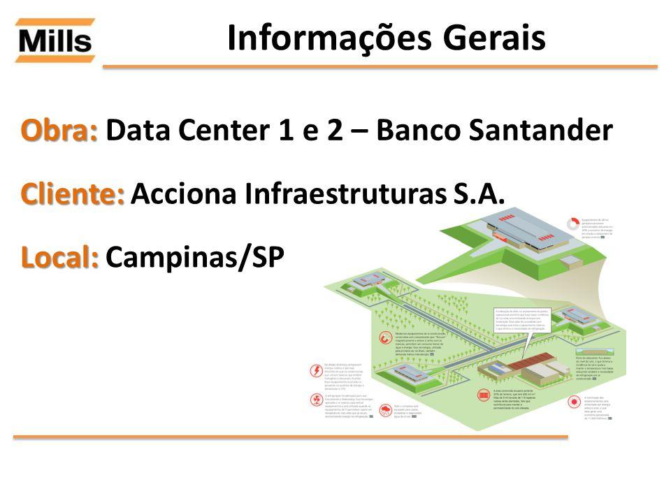 Informações Gerais Obra: Obra: Data Center 1 e 2 – Banco Santander Cliente: Cliente: Acciona Infraestruturas S.A. Local: Local: Campinas/SP