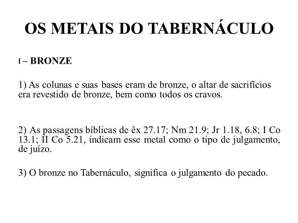 OS METAIS DO TABERNÁCULO II – PRATA 1)A prata estava presente em todos os ganchos que ostentavam as cortinas do tabernáculo, também todas as tábuas do Santuário estavam apoiadas em bases de prata.
