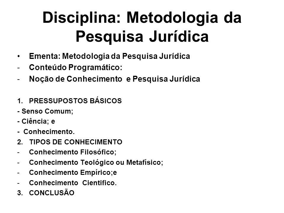 Disciplina: Metodologia da Pesquisa Jurídica Ementa: Metodologia da Pesquisa Jurídica -Conteúdo Programático: -Noção de Conhecimento e Pesquisa Jurídi