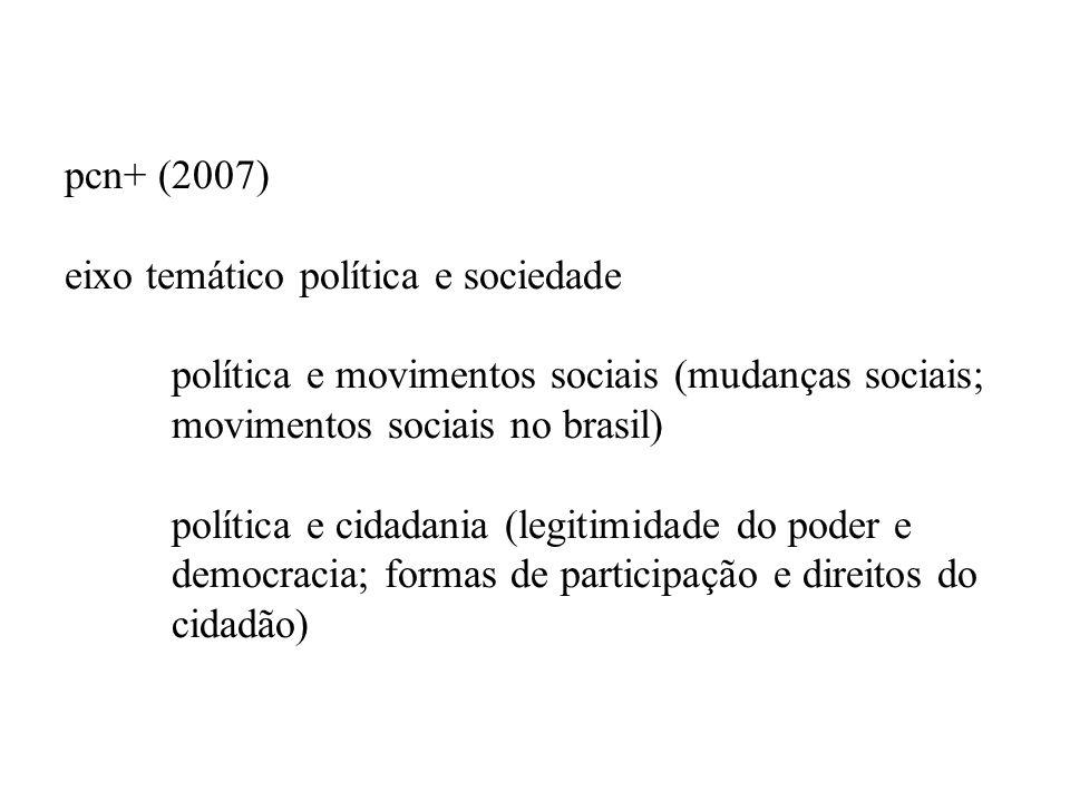 pcn+ (2007) eixo temático política e sociedade política e movimentos sociais (mudanças sociais; movimentos sociais no brasil) política e cidadania (le