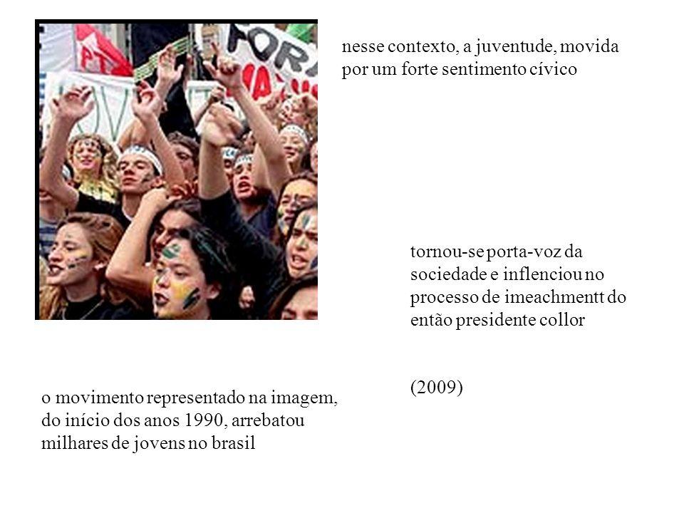 o movimento representado na imagem, do início dos anos 1990, arrebatou milhares de jovens no brasil nesse contexto, a juventude, movida por um forte s