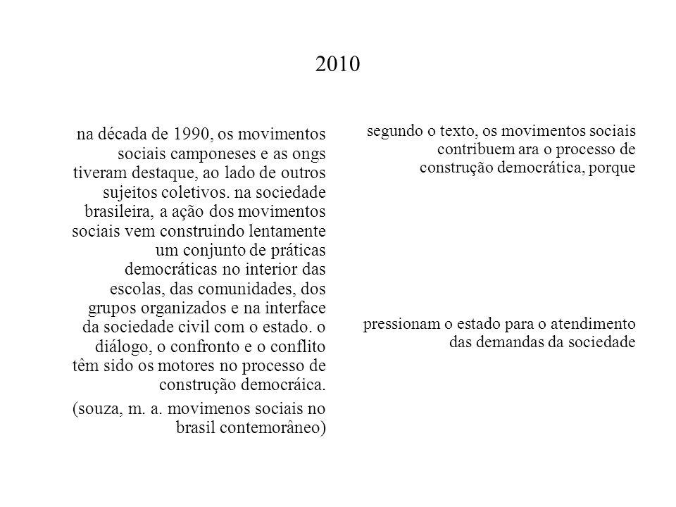 2010 na década de 1990, os movimentos sociais camponeses e as ongs tiveram destaque, ao lado de outros sujeitos coletivos. na sociedade brasileira, a