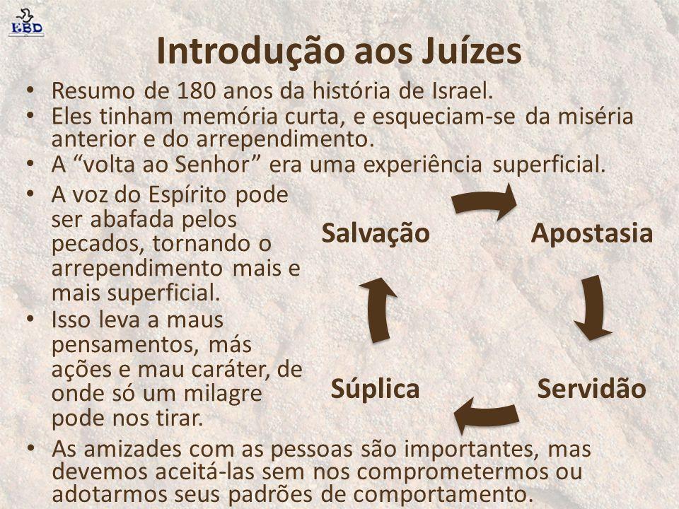 """Introdução aos Juízes Resumo de 180 anos da história de Israel. Eles tinham memória curta, e esqueciam-se da miséria anterior e do arrependimento. A """""""