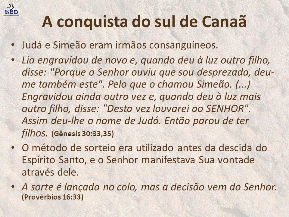 A conquista do sul de Canaã Judá e Simeão eram irmãos consanguíneos.