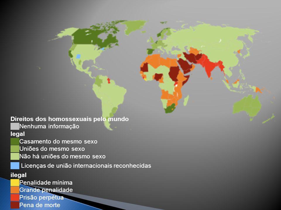 Direitos dos homossexuais pelo mundo ██Nenhuma informação legal ██Casamento do mesmo sexo ██Uniões do mesmo sexo ██Não há uniões do mesmo sexo ██ Licenças de união internacionais reconhecidas ilegal ██Penalidade mínima ██Grande penalidade ██Prisão perpétua ██Pena de morte