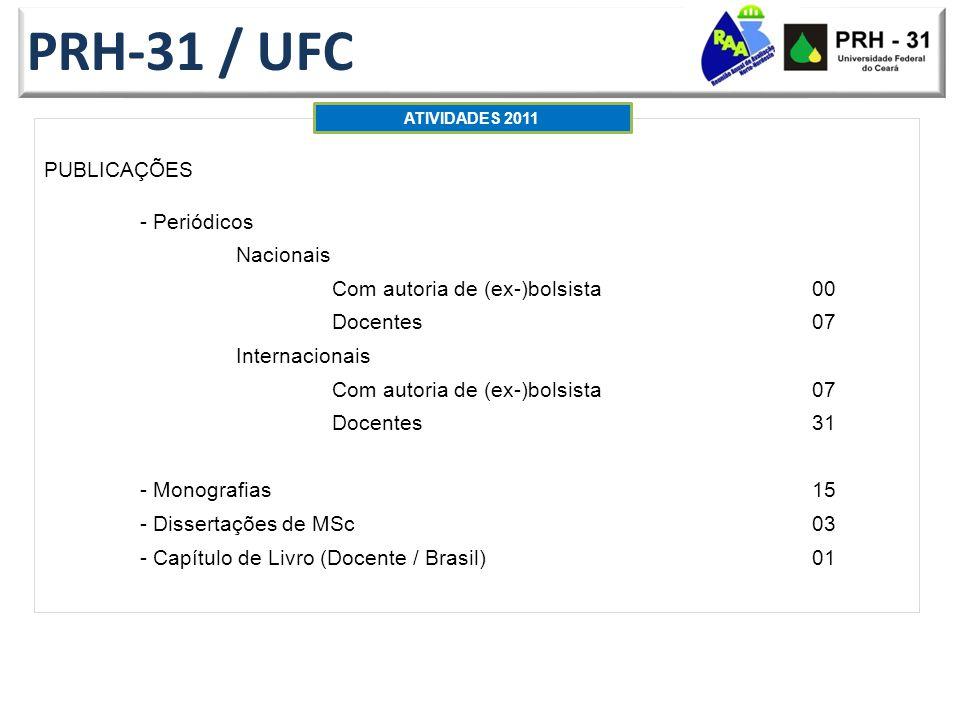PRH-31 / UFC PUBLICAÇÕES - Periódicos Nacionais Com autoria de (ex-)bolsista 00 Docentes07 Internacionais Com autoria de (ex-)bolsista 07 Docentes31 - Monografias15 - Dissertações de MSc03 - Capítulo de Livro (Docente / Brasil)01 ATIVIDADES 2011