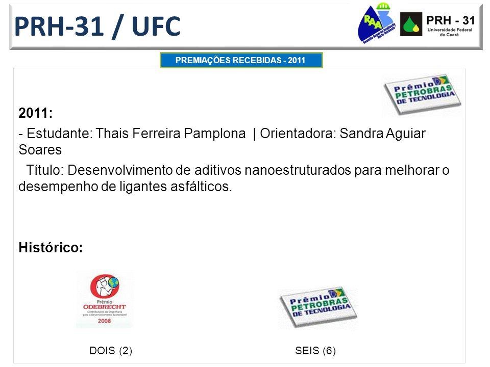 PRH-31 / UFC 2011: - Estudante: Thais Ferreira Pamplona   Orientadora: Sandra Aguiar Soares Título: Desenvolvimento de aditivos nanoestruturados para melhorar o desempenho de ligantes asfálticos.