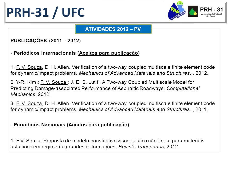 PRH-31 / UFC PUBLICAÇÕES (2011 – 2012) - Periódicos Internacionais (Aceitos para publicação) 1.
