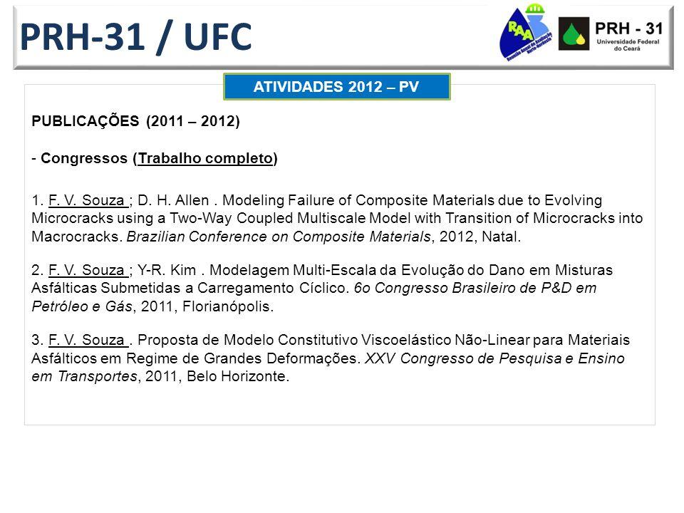 PRH-31 / UFC PUBLICAÇÕES (2011 – 2012) - Congressos (Trabalho completo) 1.