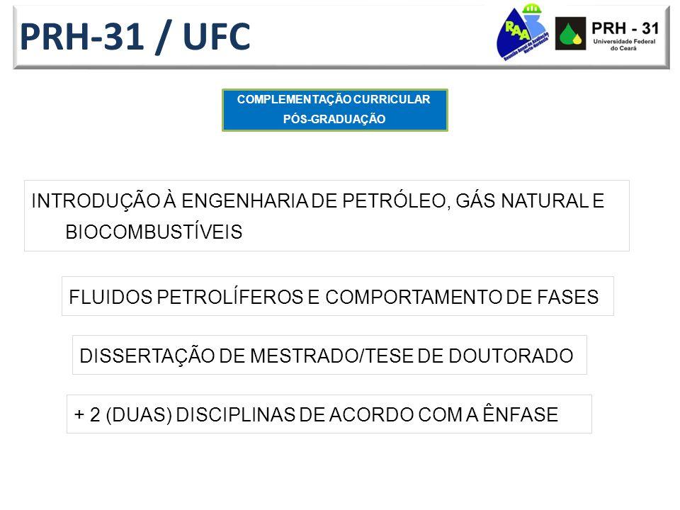 PRH-31 / UFC INTRODUÇÃO À ENGENHARIA DE PETRÓLEO, GÁS NATURAL E BIOCOMBUSTÍVEIS COMPLEMENTAÇÃO CURRICULAR PÓS-GRADUAÇÃO FLUIDOS PETROLÍFEROS E COMPORTAMENTO DE FASES + 2 (DUAS) DISCIPLINAS DE ACORDO COM A ÊNFASE DISSERTAÇÃO DE MESTRADO/TESE DE DOUTORADO