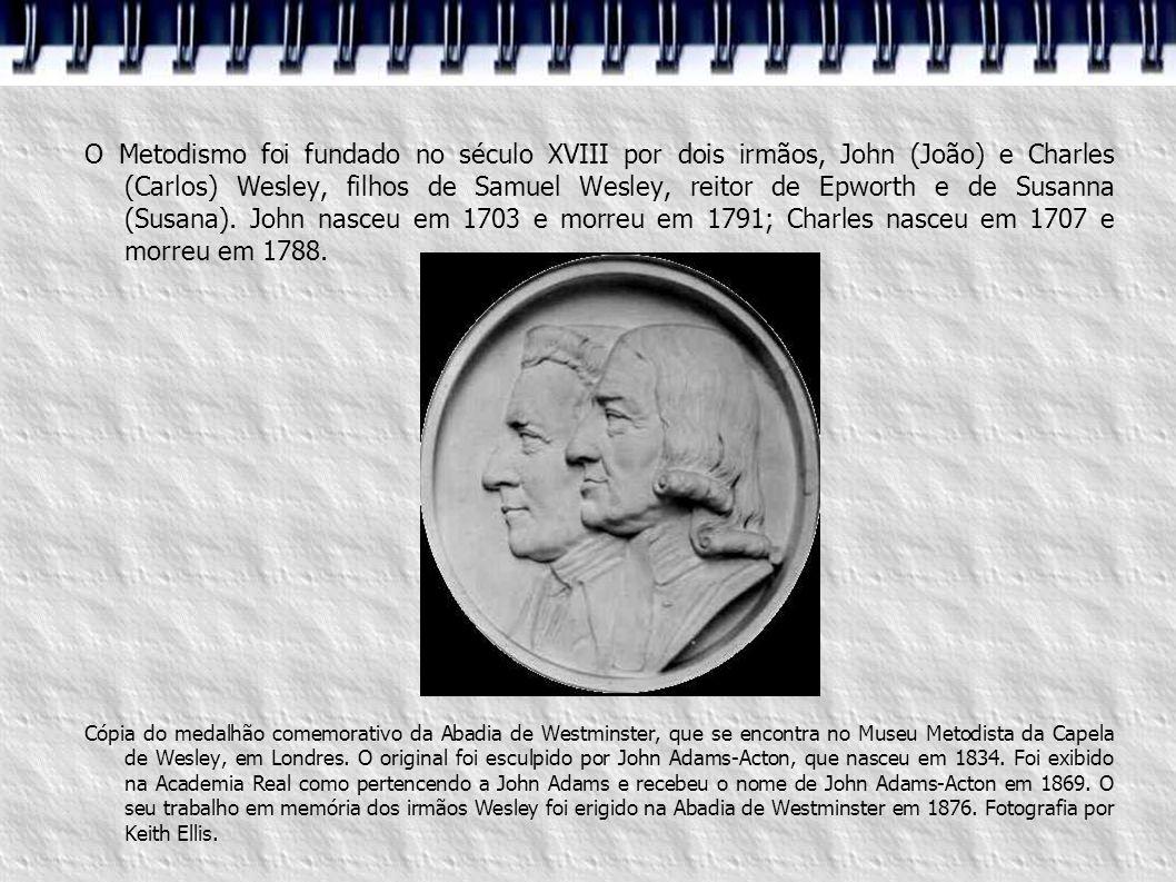 1786 - Os primeiros missionários para a Índia 1788 - (29/03) Morte de Charles Wesley 1791 - (02/03) Morte de John Wesley 1813 - Primeiro distrito Metodista 1814 - Morte de Thomas Coke Primeiros mmissionários para a Ásia 1815 - Primeiros issionários para a Austrália 1818 - Formação da Sociedade Missionária Metodista Wesleyana 1834 - Início da formação para ministros metodistas Criação da Associação Metodista Os Mártires de Tolpuddle 1849 - Movimento reformista wesleyano