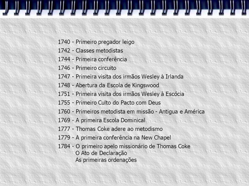 1740 - Primeiro pregador leigo 1742 - Classes metodistas 1744 - Primeira conferência 1746 - Primeiro circuito 1747 - Primeira visita dos irmãos Wesley