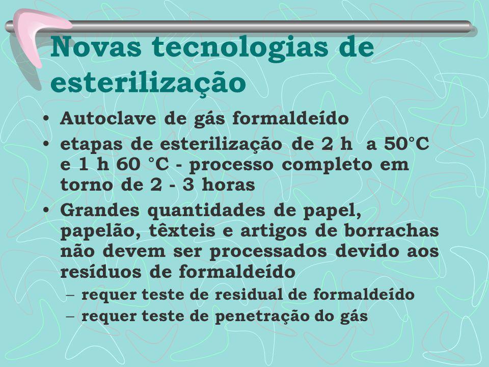 Autoclave de gás formaldeído etapas de esterilização de 2 h a 50°C e 1 h 60 °C - processo completo em torno de 2 - 3 horas Grandes quantidades de pape