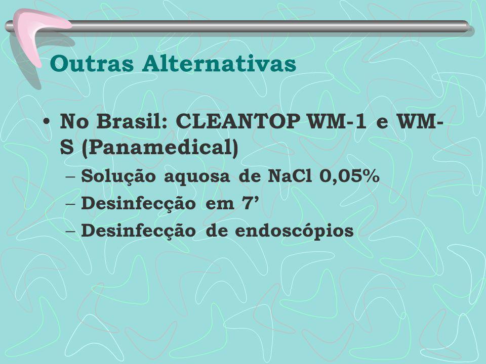No Brasil: CLEANTOP WM-1 e WM- S (Panamedical) – Solução aquosa de NaCl 0,05% – Desinfecção em 7' – Desinfecção de endoscópios Outras Alternativas