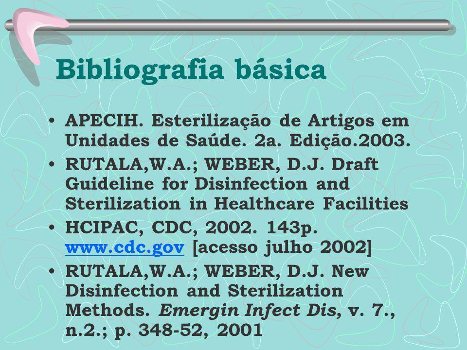 Bibliografia básica APECIH. Esterilização de Artigos em Unidades de Saúde. 2a. Edição.2003. RUTALA,W.A.; WEBER, D.J. Draft Guideline for Disinfection