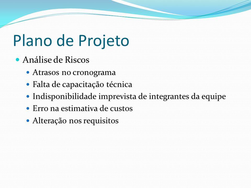 Plano de Projeto Análise de Riscos Atrasos no cronograma Falta de capacitação técnica Indisponibilidade imprevista de integrantes da equipe Erro na es