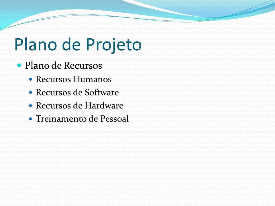 Plano de Projeto Plano de Recursos Recursos Humanos Recursos de Software Recursos de Hardware Treinamento de Pessoal