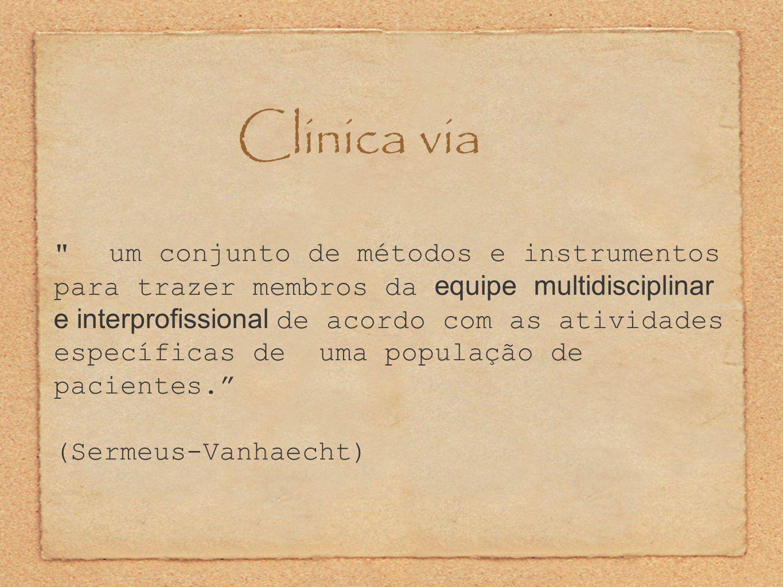 Clinica via um conjunto de métodos e instrumentos para trazer membros da equipe multidisciplinar e interprofissional de acordo com as atividades específicas de uma população de pacientes. (Sermeus-Vanhaecht)