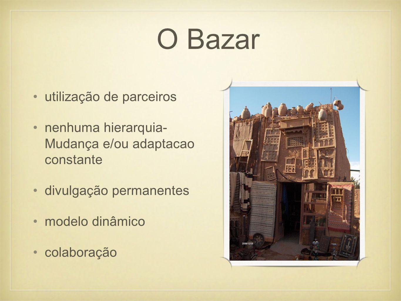 utilização de parceiros nenhuma hierarquia- Mudança e/ou adaptacao constante divulgação permanentes modelo dinâmico colaboração O Bazar