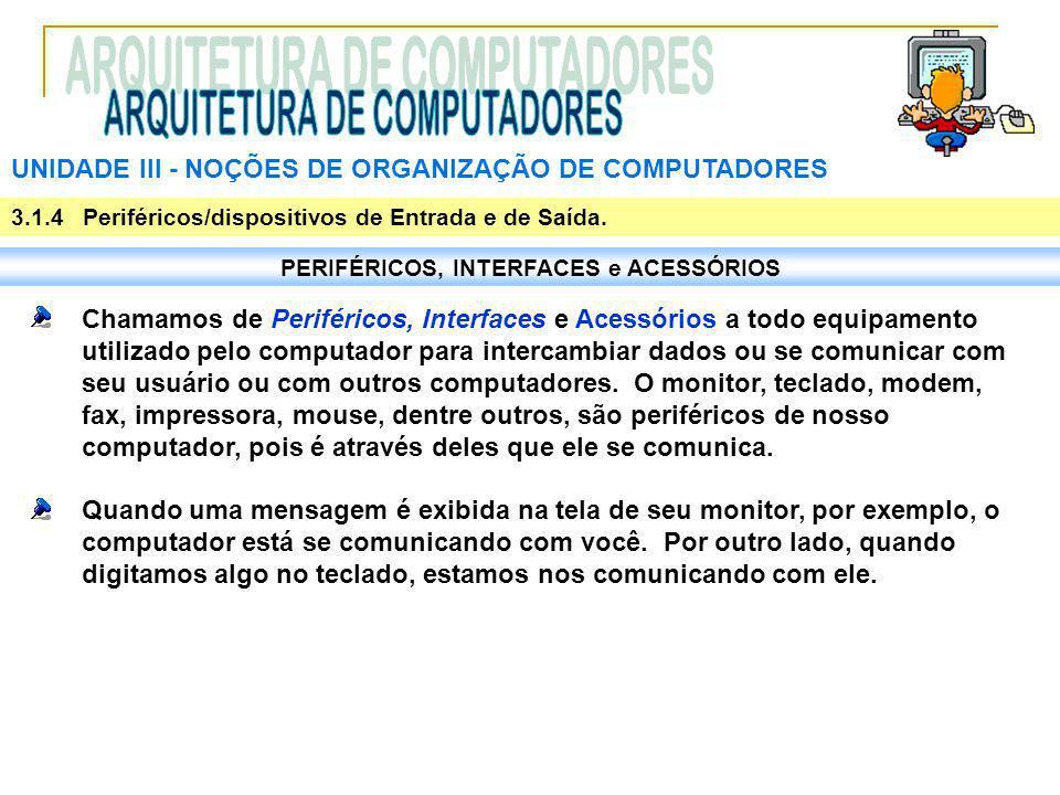 UNIDADE III ‑ NOÇÕES DE ORGANIZAÇÃO DE COMPUTADORES 3.1.4 Periféricos/dispositivos de Entrada e de Saída. PERIFÉRICOS, INTERFACES e ACESSÓRIOS Chamamo