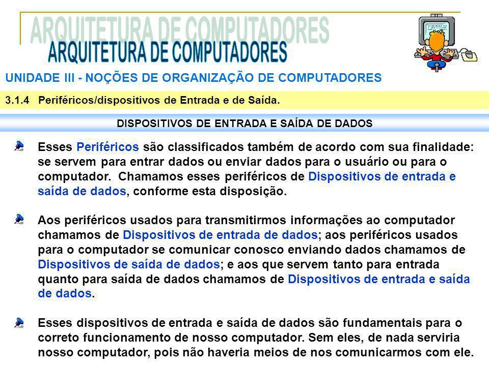 UNIDADE III ‑ NOÇÕES DE ORGANIZAÇÃO DE COMPUTADORES 3.1.4 Periféricos/dispositivos de Entrada e de Saída. DISPOSITIVOS DE ENTRADA E SAÍDA DE DADOS Ess