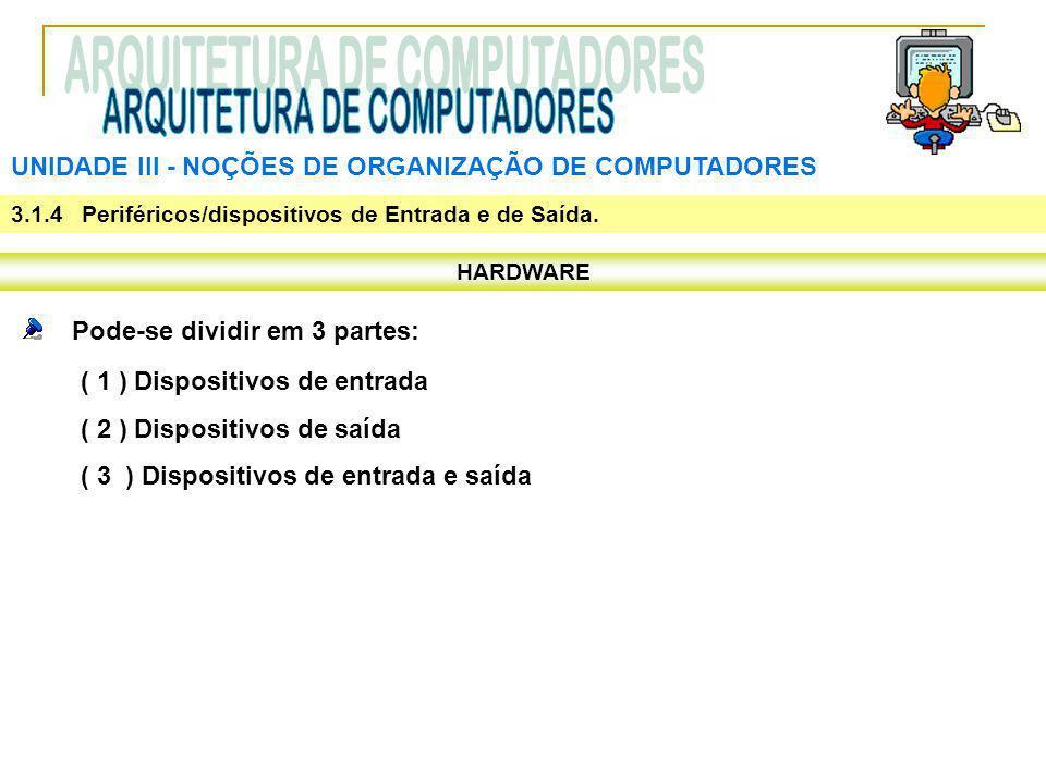 UNIDADE III ‑ NOÇÕES DE ORGANIZAÇÃO DE COMPUTADORES HARDWARE Pode-se dividir em 3 partes: ( 1 ) Dispositivos de entrada ( 2 ) Dispositivos de saída (