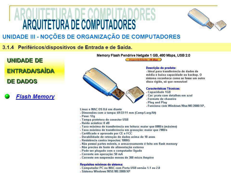 UNIDADE III ‑ NOÇÕES DE ORGANIZAÇÃO DE COMPUTADORES 3.1.4 Periféricos/dispositivos de Entrada e de Saída. UNIDADE DE ENTRADA/SAÍDA DE DADOS Flash Memo