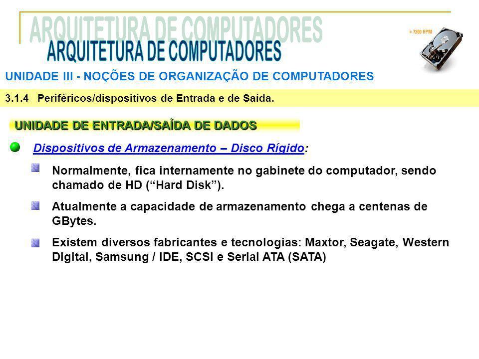 UNIDADE III ‑ NOÇÕES DE ORGANIZAÇÃO DE COMPUTADORES 3.1.4 Periféricos/dispositivos de Entrada e de Saída. UNIDADE DE ENTRADA/SAÍDA DE DADOS Dispositiv