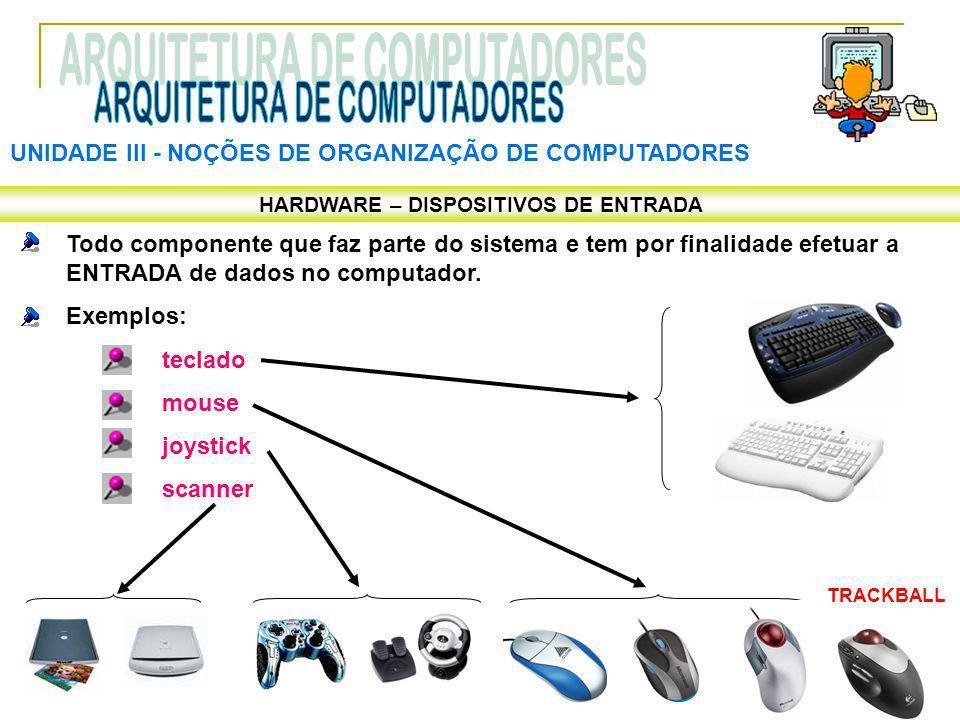 UNIDADE III ‑ NOÇÕES DE ORGANIZAÇÃO DE COMPUTADORES HARDWARE – DISPOSITIVOS DE ENTRADA Todo componente que faz parte do sistema e tem por finalidade e