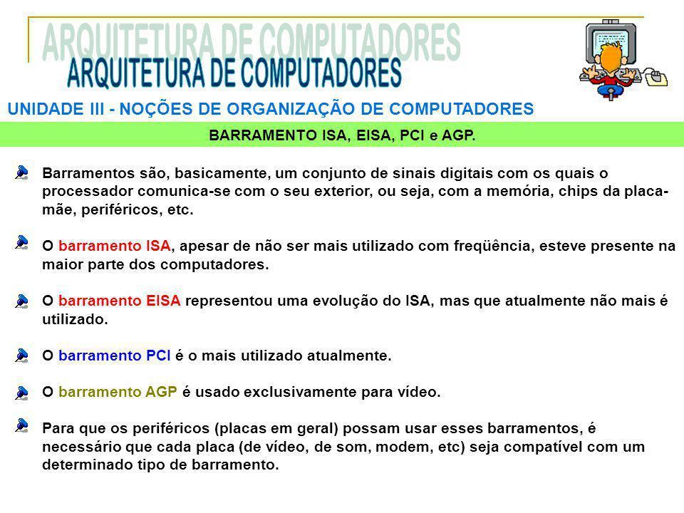UNIDADE III ‑ NOÇÕES DE ORGANIZAÇÃO DE COMPUTADORES Barramentos são, basicamente, um conjunto de sinais digitais com os quais o processador comunica-s