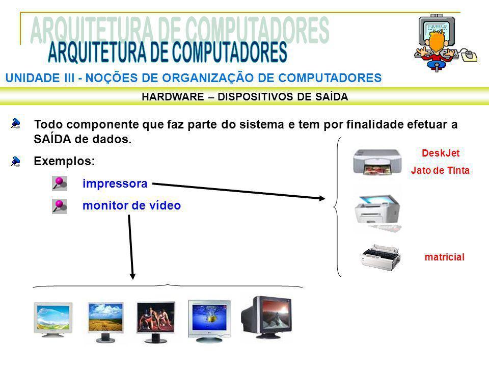 UNIDADE III ‑ NOÇÕES DE ORGANIZAÇÃO DE COMPUTADORES HARDWARE – DISPOSITIVOS DE SAÍDA Todo componente que faz parte do sistema e tem por finalidade efe