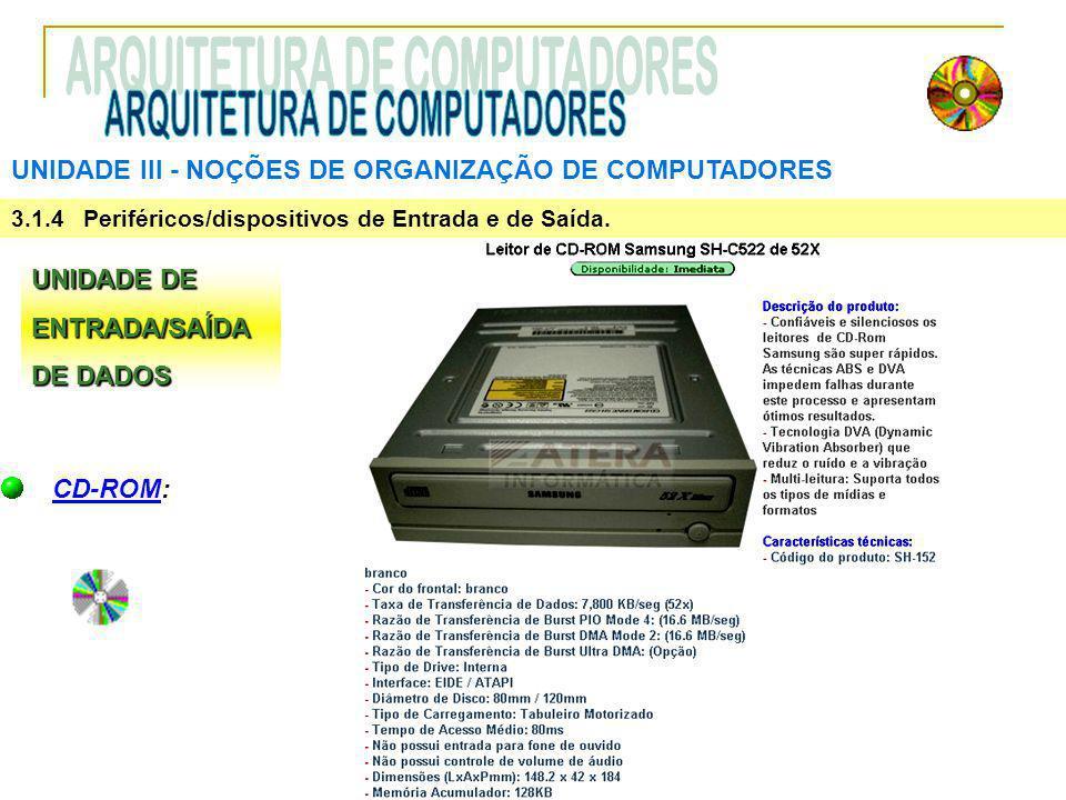 UNIDADE III ‑ NOÇÕES DE ORGANIZAÇÃO DE COMPUTADORES 3.1.4 Periféricos/dispositivos de Entrada e de Saída. UNIDADE DE ENTRADA/SAÍDA DE DADOS CD-ROM: