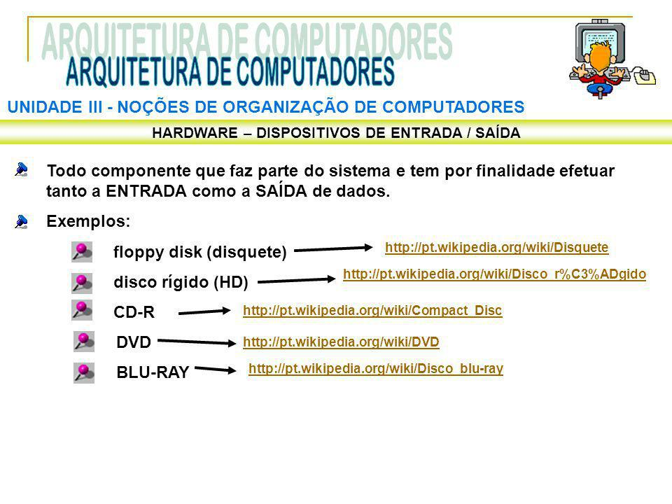 UNIDADE III ‑ NOÇÕES DE ORGANIZAÇÃO DE COMPUTADORES HARDWARE – DISPOSITIVOS DE ENTRADA / SAÍDA Todo componente que faz parte do sistema e tem por fina