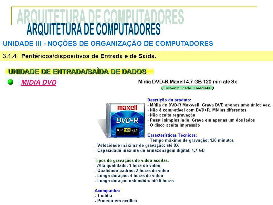 UNIDADE III ‑ NOÇÕES DE ORGANIZAÇÃO DE COMPUTADORES 3.1.4 Periféricos/dispositivos de Entrada e de Saída. UNIDADE DE ENTRADA/SAÍDA DE DADOS MIDIA DVD