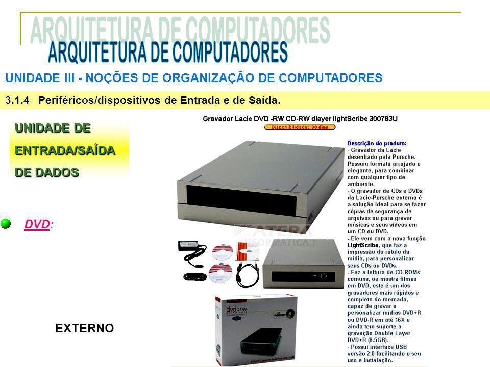 UNIDADE III ‑ NOÇÕES DE ORGANIZAÇÃO DE COMPUTADORES 3.1.4 Periféricos/dispositivos de Entrada e de Saída. UNIDADE DE ENTRADA/SAÍDA DE DADOS DVD: EXTER