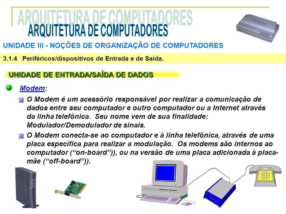 UNIDADE III ‑ NOÇÕES DE ORGANIZAÇÃO DE COMPUTADORES 3.1.4 Periféricos/dispositivos de Entrada e de Saída. UNIDADE DE ENTRADA/SAÍDA DE DADOS Modem: O M