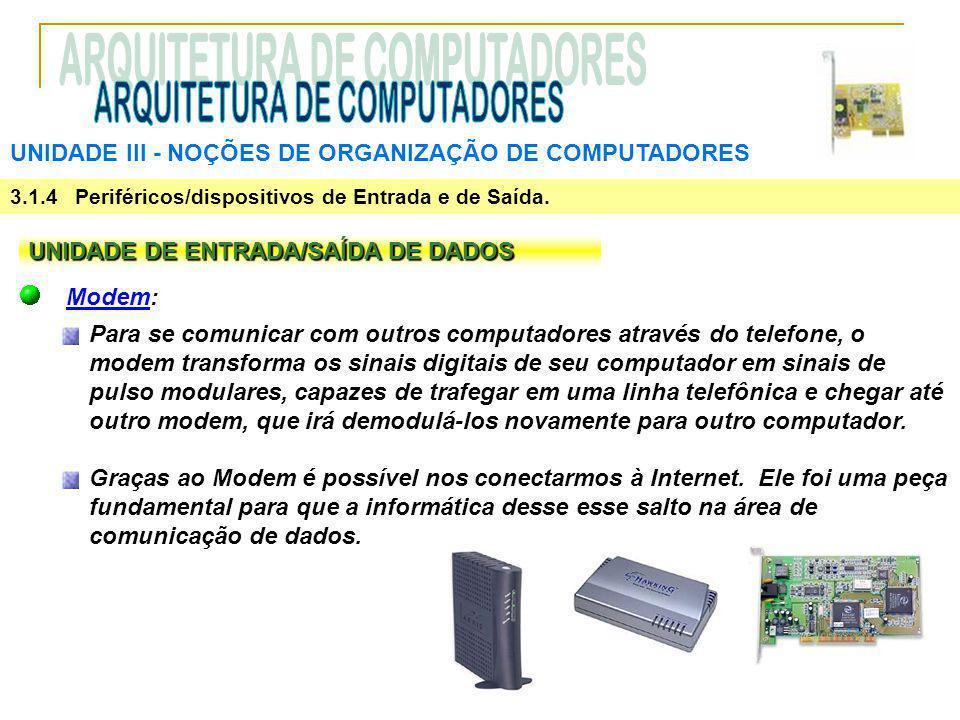 UNIDADE III ‑ NOÇÕES DE ORGANIZAÇÃO DE COMPUTADORES 3.1.4 Periféricos/dispositivos de Entrada e de Saída. UNIDADE DE ENTRADA/SAÍDA DE DADOS Modem: Par