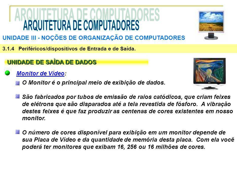 UNIDADE III ‑ NOÇÕES DE ORGANIZAÇÃO DE COMPUTADORES 3.1.4 Periféricos/dispositivos de Entrada e de Saída. UNIDADE DE SAÍDA DE DADOS Monitor de Vídeo: