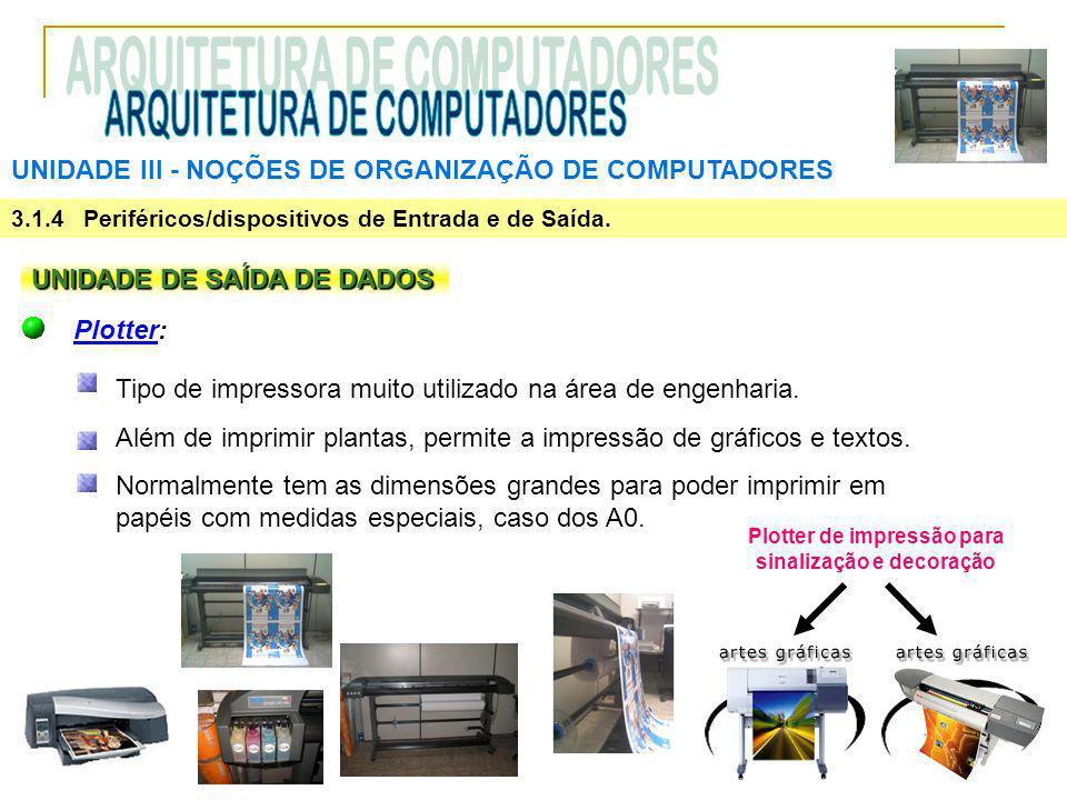 UNIDADE III ‑ NOÇÕES DE ORGANIZAÇÃO DE COMPUTADORES 3.1.4 Periféricos/dispositivos de Entrada e de Saída. UNIDADE DE SAÍDA DE DADOS Plotter: Tipo de i