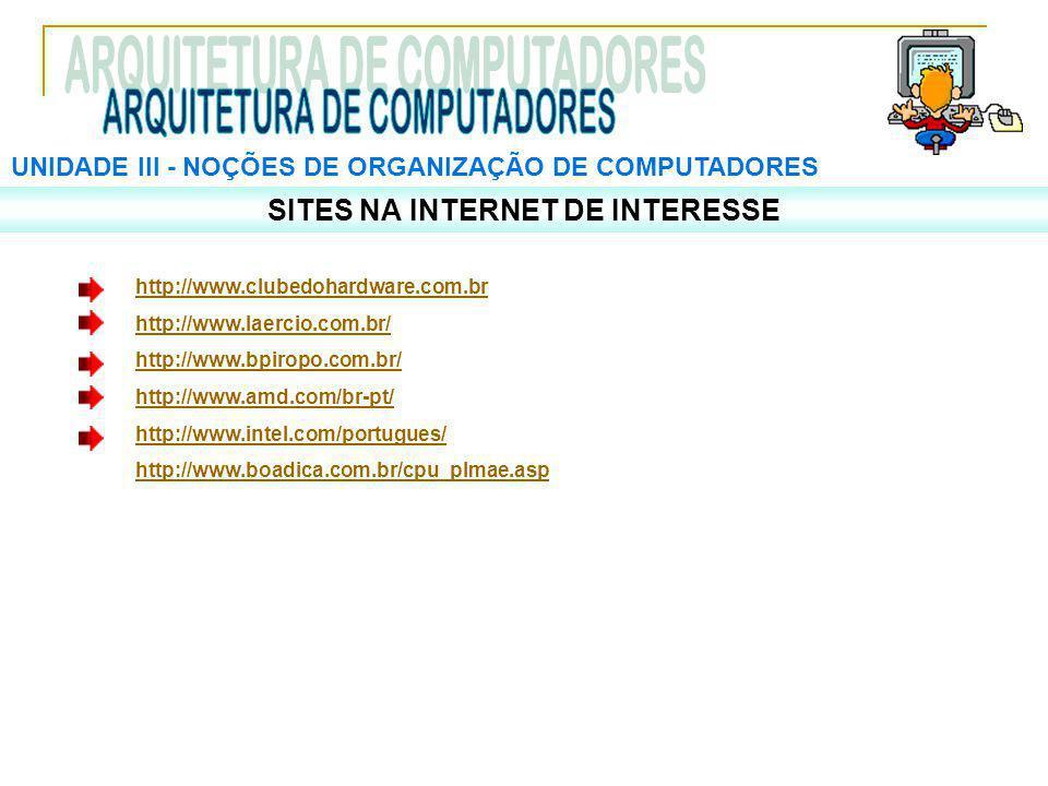 UNIDADE III ‑ NOÇÕES DE ORGANIZAÇÃO DE COMPUTADORES SITES NA INTERNET DE INTERESSE http://www.clubedohardware.com.br http://www.laercio.com.br/ http://www.bpiropo.com.br/ http://www.amd.com/br-pt/ http://www.intel.com/portugues/ http://www.boadica.com.br/cpu_plmae.asp