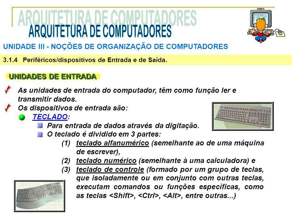 UNIDADE III ‑ NOÇÕES DE ORGANIZAÇÃO DE COMPUTADORES 3.1.4 Periféricos/dispositivos de Entrada e de Saída. UNIDADES DE ENTRADA As unidades de entrada d