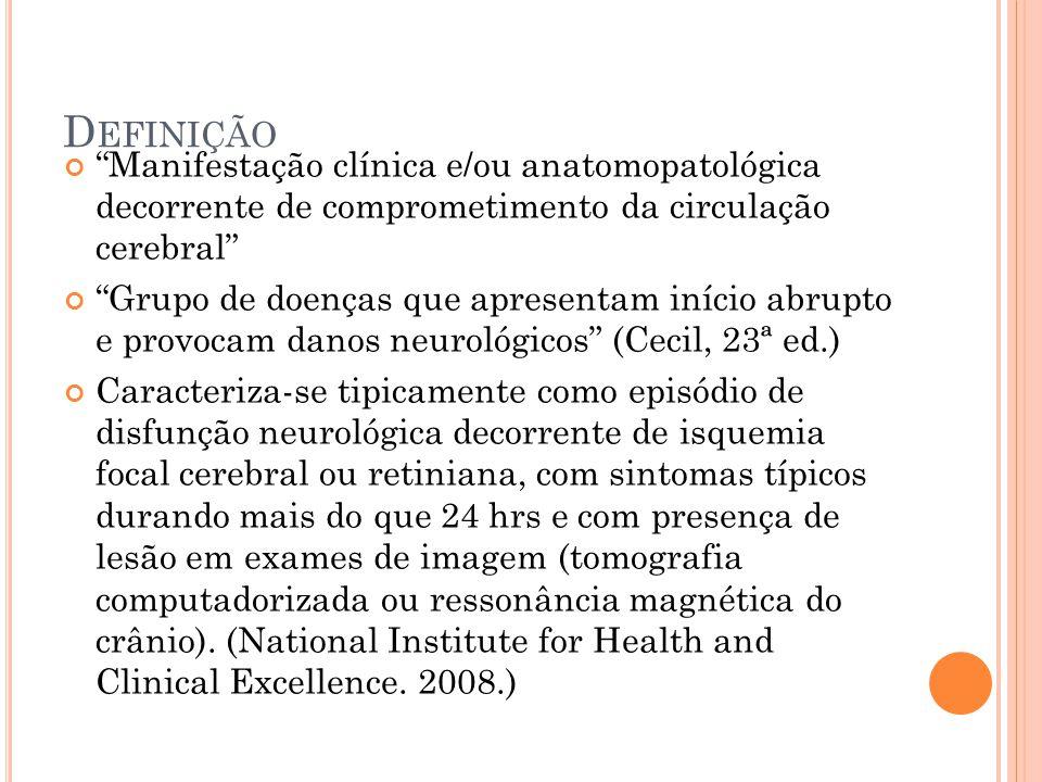 """D EFINIÇÃO """"Manifestação clínica e/ou anatomopatológica decorrente de comprometimento da circulação cerebral"""" """"Grupo de doenças que apresentam início"""