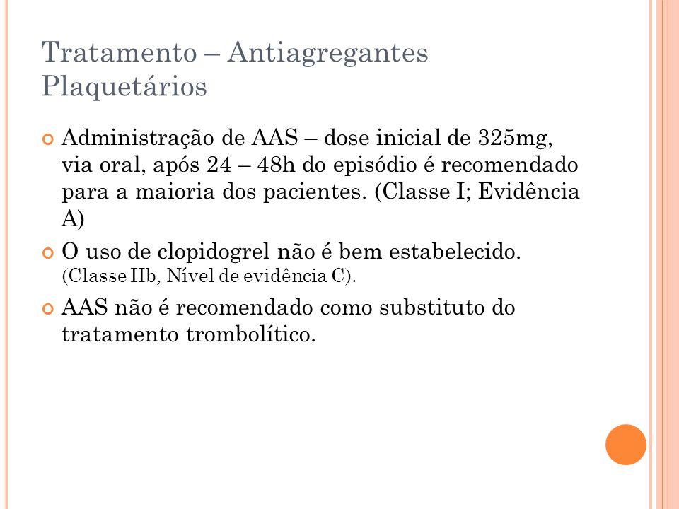 Tratamento – Antiagregantes Plaquetários Administração de AAS – dose inicial de 325mg, via oral, após 24 – 48h do episódio é recomendado para a maiori