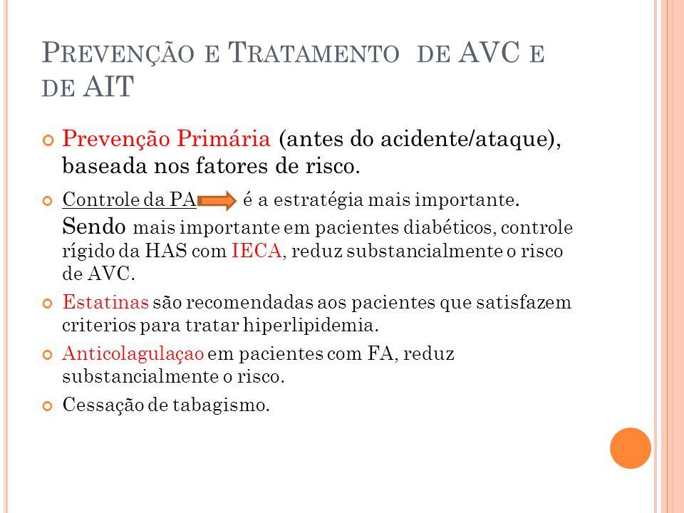 P REVENÇÃO E T RATAMENTO DE AVC E DE AIT Prevenção Primária (antes do acidente/ataque), baseada nos fatores de risco. Controle da PA é a estratégia ma