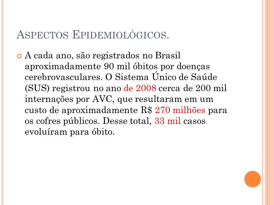 A SPECTOS E PIDEMIOLÓGICOS. A cada ano, são registrados no Brasil aproximadamente 90 mil óbitos por doenças cerebrovasculares. O Sistema Único de Saúd