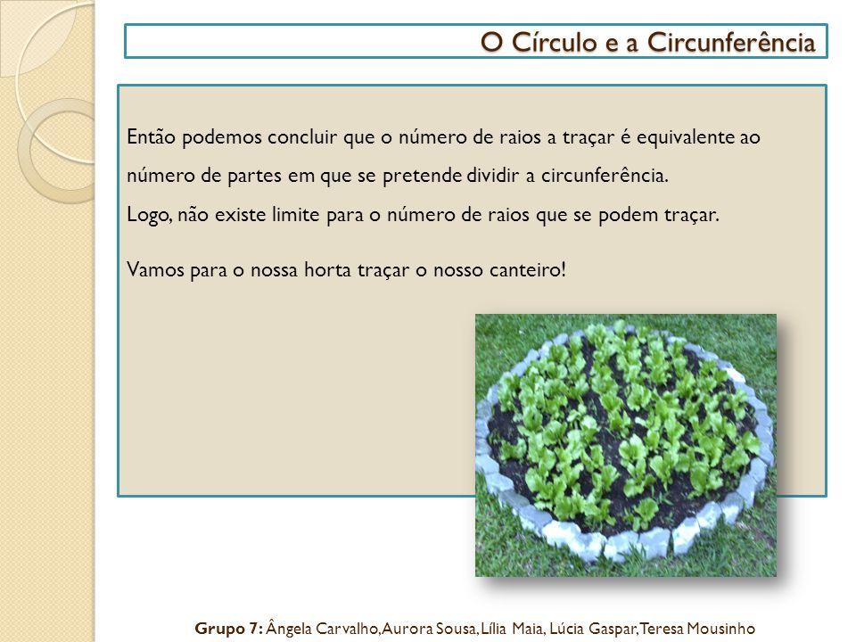 O Círculo e a Circunferência O Círculo e a Circunferência Então podemos concluir que o número de raios a traçar é equivalente ao número de partes em q