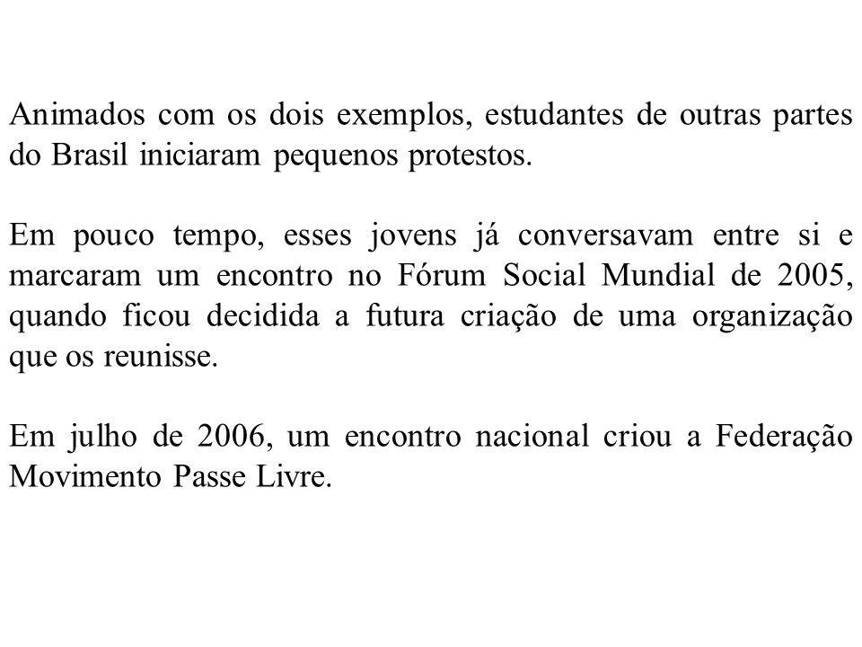 Animados com os dois exemplos, estudantes de outras partes do Brasil iniciaram pequenos protestos.