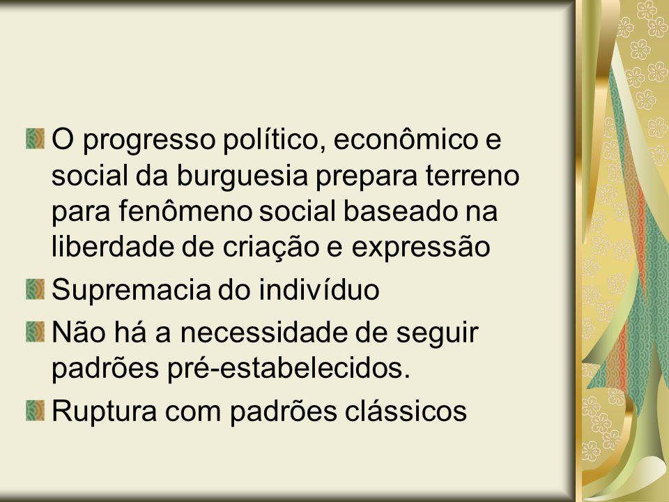 O progresso político, econômico e social da burguesia prepara terreno para fenômeno social baseado na liberdade de criação e expressão Supremacia do i