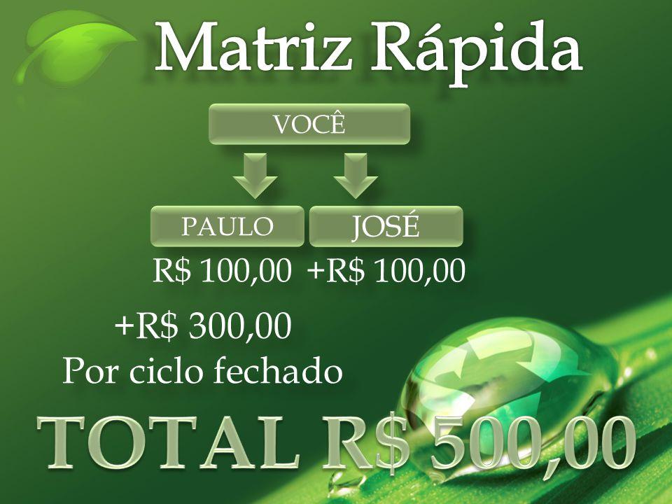 VOCÊ PAULO JOSÉ R$ 100,00 +R$ 100,00 +R$ 300,00 Por ciclo fechado +R$ 300,00 Por ciclo fechado
